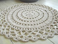 Inspiration only - this is a retail product that can be found on Etsy. - Crochet Rope Giant Doily Rug 100 Cotton by KnitJoys on Etsy, Crochet Doily Rug, Crochet Carpet, Crochet Rope, Crochet Flowers, Doily Patterns, Crochet Patterns, Tapete Doily, Crochet Designs, Throw Rugs