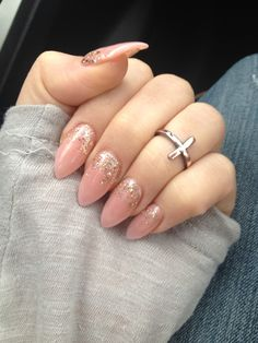 Nails. Almond shaped nails. Knuckle ring.