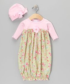 Look what I found on #zulily! Rose & Pistachio Floral Gown & Beanie - Infant by Too Sweet #zulilyfinds