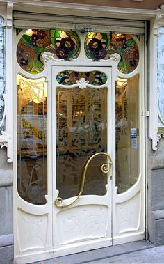 Art Nouveau doors with stained glass in Barcelona, Spain