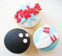 bowling party cupcakes