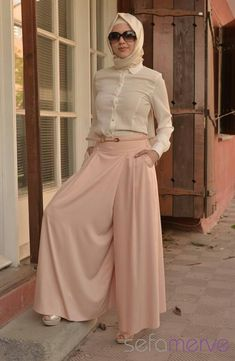 pastels: wide leg pants with hijab