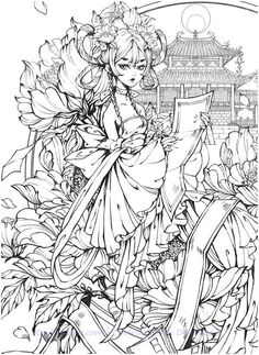 Instant Download Gugeli Chinese Coloring Book - Printable HD – Anime Art and Classic Chinese Portrait Coloring Book!    High quality images fit on A4 paper Over 200 printable coloring books available #chinese #gugeli #coloringbook #coloringpage #coloring #portrait #mystica #aeppol #momogirl #koreacoloring #download #ebook #coloringpage #classic Printable Adult Coloring Pages, Cute Coloring Pages, Coloring Books, Gothic Anime Girl, Black And White Drawing, Art Drawings Sketches, Chinese Art, Portraits, Anime Art