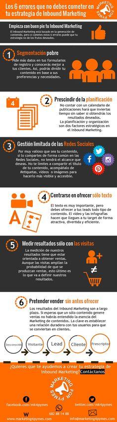 6 errores a evitar en tu estrategia de Inbound Marketing #infograifa #infographic #marketing