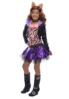Deluxe Monster High Clawdeen Wolf Costume Includes themed jacket, tank, skirt, and choker. does not include wig or boots. This is an officially licensed Monster High product. Weight (lbs) 1 Length (in Fantasia Monster High, Festa Monster High, Monster High Party, Monster High Dolls, Disney Halloween, Halloween Party Kostüm, Halloween 2014, Halloween Treats, Kids Costumes Boys