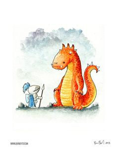 George and the Dragon. The brave knight faces a stubborn orange dragon. Who knows what will happen? The orange dragon seems unconcerned Dragon Kid, Water Dragon, Saint George And The Dragon, Fox And Rabbit, Illustration, Create Image, Watercolor Print, Make You Smile, Fantasy Art