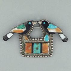 Zuni Inlay Pin with Two Birds, c.1950's