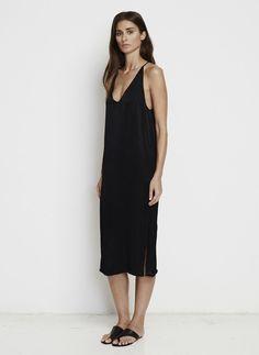 PLAIN BLACK SATIN - EAST WEST DRESS