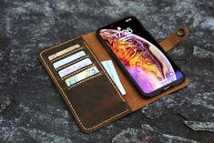 Personalized leather phone wallet for iPhone 11 Pro Max | Etsy Real Leather Wallet, Iphone Leather Case, Iphone Wallet Case, Groomsmen Gifts Unique, Distressed Leather, Brown Leather, Sewing Leather, Gifts For Your Boyfriend, Stitching Leather