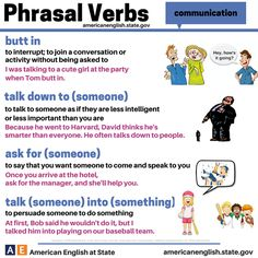 Phrasal verbs - Repinned by Chesapeake College Adult Ed. We offer free classes on the Eastern Shore of MD to help you earn your GED - H.S. Diploma or Learn English (ESL) . For GED classes contact Danielle Thomas 410-829-6043 dthomas@chesapeake.edu For ESL classes contact Karen Luceti - 410-443-1163 Kluceti@chesapeake.edu . www.chesapeake.edu