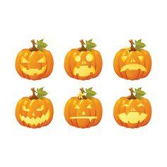 "6 Cute Halloween Pumpkin Decals - Each Decal is 3"" tall x 3"" wide by WilsonGraphics, $6.00 USD"