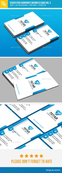 Seven Star Corporate Business Card Vol.3 (CS5, 2x3.5, black, blue, business, business card, call, card, clean, corporate, creative, design, individual, light, modern, name, personal, portrait, psd, style, template, vertical, visit, white)