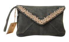suede with studs clutch