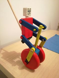 Wooden cyclist push toy Check more at Wooden Toy Cars, Wood Toys, Woodworking For Kids, Woodworking Projects Diy, Wooden Projects, Wood Crafts, Making Wooden Toys, Push Toys, Wooden Art