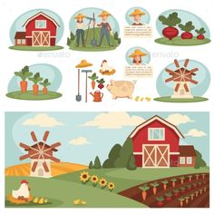 Village Landscape With Farm Building. by Sonulkaster Village landscape illustrations with farm building. Set with harvest, ranch and house, barn and field grass. Landscape Illustration, Cute Illustration, Cartoon Drawings, Easy Drawings, Farm Cartoon, Farm Logo, Background Drawing, Farm Art, Simple Cartoon