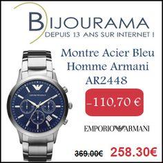 #missbonreduction; 110,70 € de remise sur la Montre Acier Bleu Homme Armani AR2448 chez Bijourama. http://www.miss-bon-reduction.fr//details-bon-reduction-Bijourama-i851979-c1830058.html