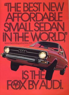 "design-is-fine: ""Helmut Krone, artwork for the Fox campaign, DDB, USA. Krone was behind the look of the Audi brand as well as the advertising of Volkswagen USA. Massimo Vignelli, Milton Glaser, Car Advertising, Advertising Campaign, Vintage Advertisements, Vintage Ads, Retro Ads, Audi Germany, Allroad Audi"