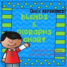This product serves as a great visual reminder of digraphs and blends.  It is available in both color and black and white.  I would print and laminate two charts for each student (either color or bw) and have one in their writing folder and one in their reading folder as a quick reference.