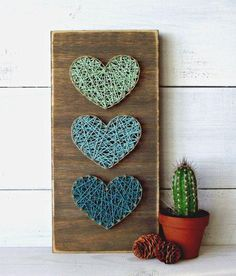 Yarn Art Yarn Art String Art that is extremely pleasant and low cost of String Art Diy, String Art Heart, String Crafts, Heart Wall Art, Diy And Crafts, Arts And Crafts, Crafts With Yarn, Crafts Cheap, Wooden Crafts