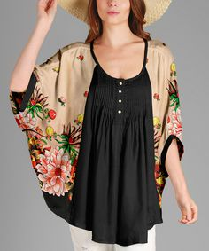 Look at this Black & Tan Floral Cape-Sleeve Tunic - Plus on #zulily today!