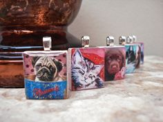 Dogs and Cats scrabble tile pendants - Mango and Lime Design
