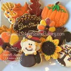 Thanksgiving cookies. Turkey, sunflower, pumpkin, squirrel, Leaves.  Sweet Scene Bakery