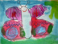 Butterfly Wings  Students created a drawing of a butterfly, and they also learned about mirror symmetry.  This project gave students the opportunity to explore the technique of using crayon and watercolor resist.