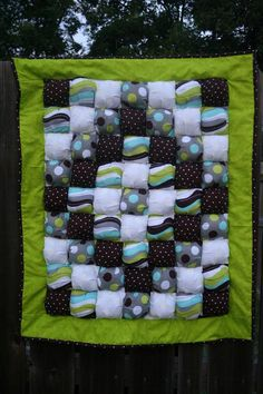 Items similar to Boy Brown/Lime Bubble/Puff Quilt on Etsy Bubble Blanket, Bubble Quilt, Scrappy Quilts, Baby Quilts, Biscuit Quilt, Puffy Quilt, Sewing Ideas, Sewing Projects, Fleece Tie Blankets