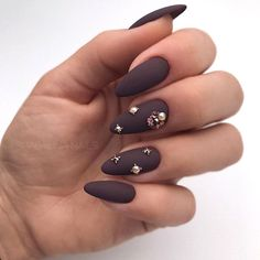 35 Trendy Manicure Ideas In Fall Nail Colors 2019 Inspired Matte Chocolate Nails ❤️ Fall nail colors are different from. Burgundy Nails, Brown Nails, Uñas Color Cafe, Hair And Nails, My Nails, Purple Manicure, Nail Lacquer, Nail Polish, Purple Nail Designs