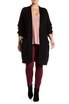 Textured Knit Cardigan (Plus Size) by 14th & Union on @nordstrom_rack