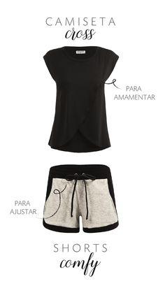 92093317a5 Look comfy de grávida da Agora sou Mãe. A camiseta amamentação cross tem  abertura especial