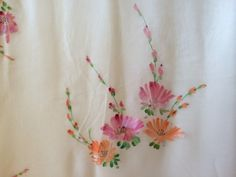 Items similar to Hand Painted Coral and Pink Florals on White Silk Chiffon Scarf on Etsy Hand Painted Dress, Painted Clothes, Dress Painting, Fabric Painting, Fabric Paint Designs, Fabric Design, Chiffon Scarf, Silk Chiffon, Embroidery Patterns