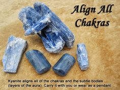 Crystal for Aligning All Chakras — Kyanite aligns all of the chakras and the subtle bodies (layers of the aura). Carry it with you, wear as a pendant, or use it as an energy wand to activate the chakras. You can do this by spinning in a clockwise motion over each chakra.