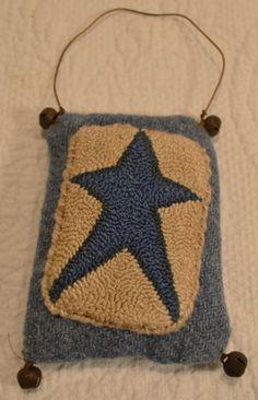 Primitive Punch Needle Patriotic Star Ornament