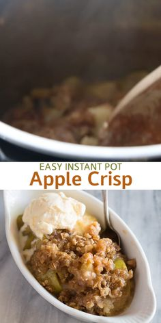 Instant Pot Apple Crisp is a very easy Instant Pot dessert recipe made with Granny Smith apples and simple pantry ingredients. Instant Pot Apple Crisp is a very easy Instant Pot dessert recipe made with Granny Smith apples and simple pantry ingredients. Best Instant Pot Recipe, Instant Recipes, Instant Pot Dinner Recipes, Recipes Dinner, Beef Stew Crockpot Easy, Crockpot Recipes, Crockpot Beefstew, Best Instapot Recipes, Vegan Recipes