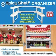 Set 2 Spicy Shelf Kitchen Stackable Cabinet Spice Rack Organizer As Seen On TV | Home & Garden, Kitchen, Dining & Bar, Kitchen Storage & Organization | eBay!