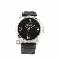 A.1288.10.01 - Γυναικείο ρολόι quartz ANGEL με μαύρο καντράν και μαύρο λουρί. Εγγύηση 2 ετών της επίσημης αντιπροσωπείας. Αποστολή εντός 24 ωρών #angel #μαυρο #λουρι #γυναικειο #ρολοι Black Leather, Watches, Silver, Accessories, Fashion, Moda, Money, Fashion Styles, Clocks