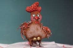 """OOAK Handmade Primitive """"Year of the Rooster"""" ornament. #NaivePrimitive #Me"""