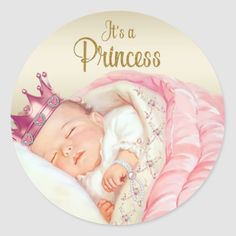 Shop Pink Vintage Princess Baby Shower Classic Round Sticker created by The_Vintage_Boutique. Personalize it with photos & text or purchase as is! Vintage Princess, Baby Girl Princess, Baby Shower Princess, Baby Clip Art, Baby Art, Vintage Baby Pictures, Baby Motiv, Baby Illustration, Baby Shower Invitaciones