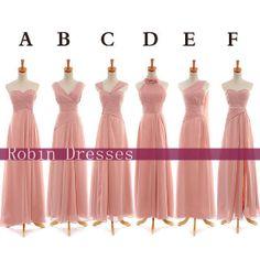 New Custom Long  Blush Chiffon Bridesmaid Dresses by RobinDresses, $89.00