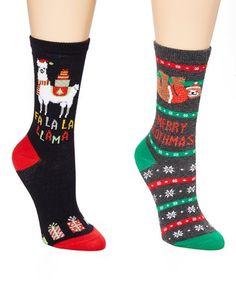Loving this Black 'Fa La La Llamma' Socks & Medium Gray Heather 'Slothmas' Socks - Women on Christmas Clothing, Socks, Cozy, Medium, Celebrities, Clothes, Black, Design, Women