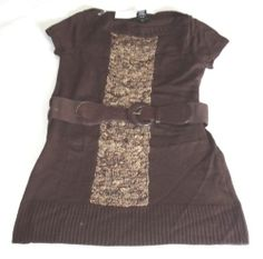 NWT UNITED STATES SWEATERS SWEATER DRESS WITH BELT MULTI COLORS SHORT SLEEVE