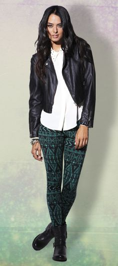patterned pants and leather jacket