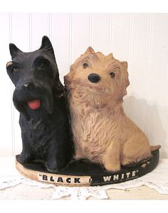 "Vintage ""Black & White"" Scotch Whisky Dogs, Scottie & Westie from stellabystar"