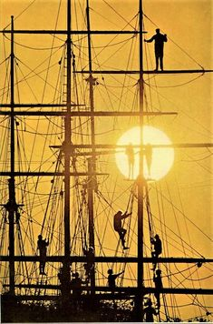 Silhouettes on a boat's rigging at Mystic Seaport, Connecticut