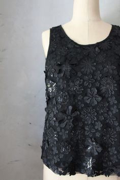 Floral Cutouts - Black cocktail blouse with sequins and flower motif //