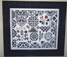 Love Quaker Style - Cross Stitch by AuryTm. Love pattern samplers and I've been wanting to try black work for awhile.