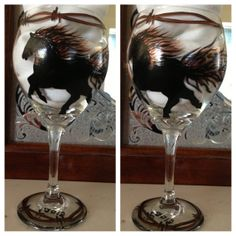 Hand Painted Wild Horse Wine Glasses by CowgirlupDesign on Etsy, $20.00