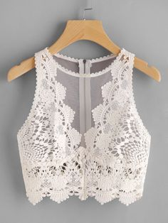 croptop fiesta Scallop Lace Applique Exposed Zip T - croptop Look Fashion, Fashion Outfits, Womens Fashion, Crop Tops, Tank Tops, Women's Tops, Cooler Look, Body Suit Outfits, Trendy Swimwear