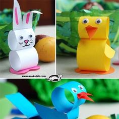 Origami (well I wouldn't really call it Origami) easter animals